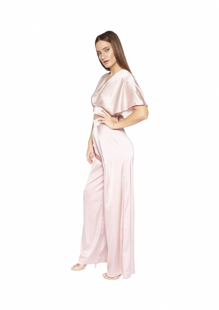 BELAMINA ROSE SATIN PLEATED PALAZZO TROUSERS - HOUSE OF MAGUIE