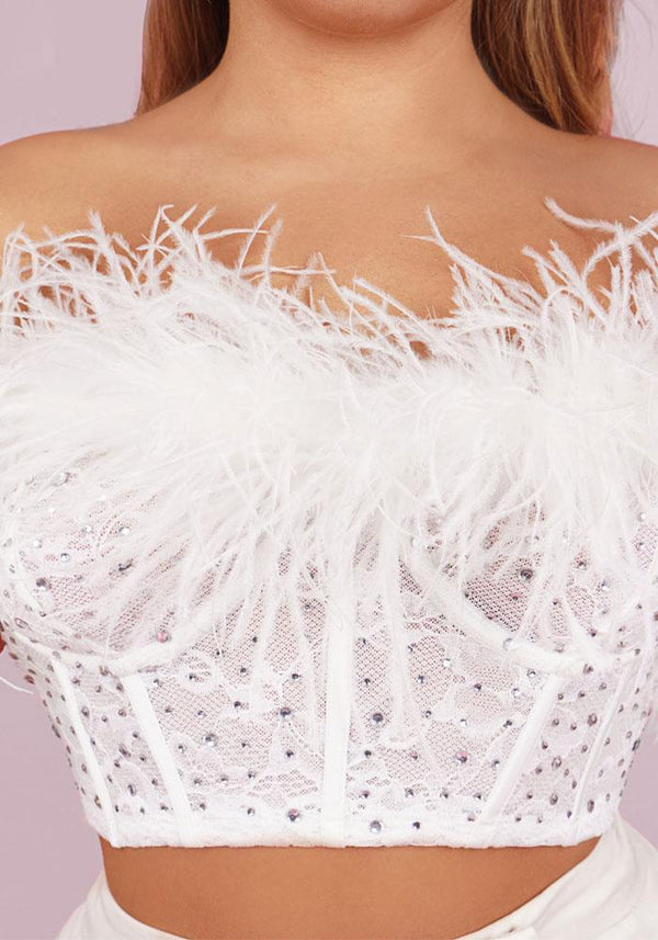 Anja White Ostrich Feathers Structured Bustier Top