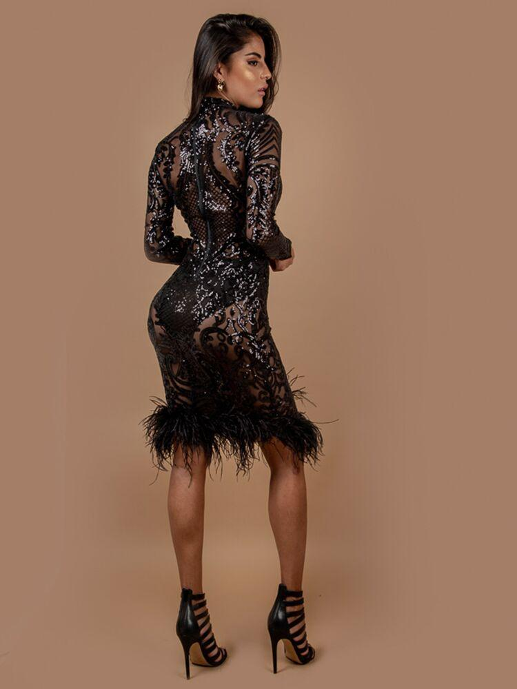 CARMELIA BLACK DEEP PLUNGE OSTRICH FEATHER HEM COCKTAIL DRESS - HOUSE OF MAGUIE