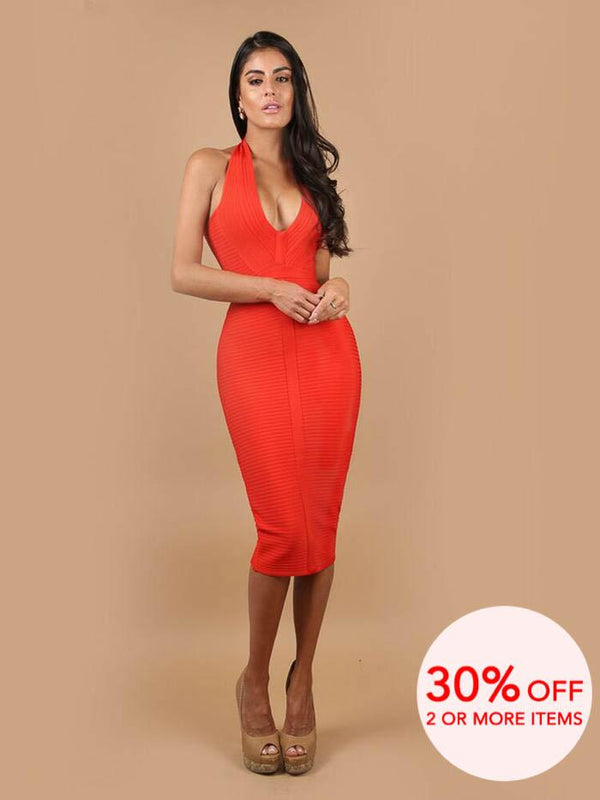 ANALI ROUGE HALTER NECK BANDAGE MIDI DRESS