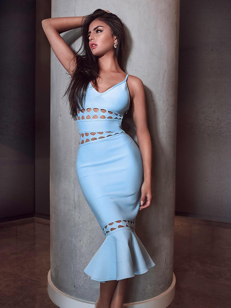 CELESTE AQUA FLUTED-HEM MERMAID STYLE MIDI BANDAGE DRESS - HOUSE OF MAGUIE