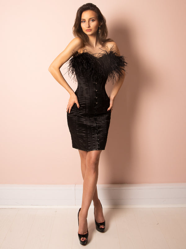 Black dress, Ostrich feather dress, Corset dress, sexy dress, valentines day dress, boutique