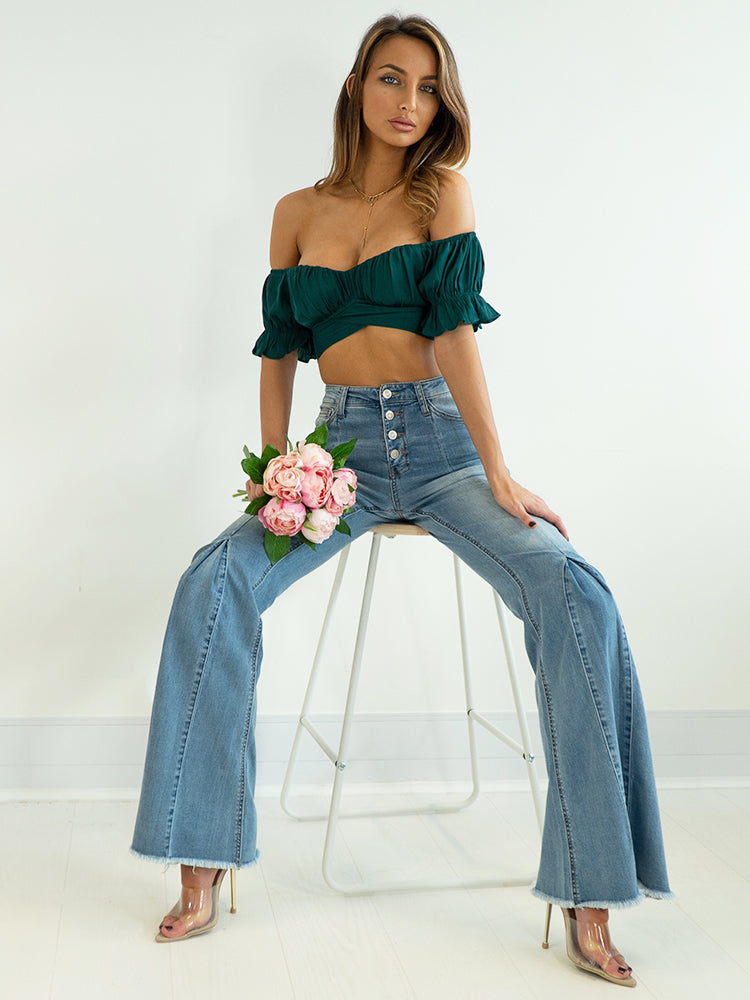 Vintage Baby Blue Wash Flared Trousers High Wise, zara vintage trousers, levis high wise vintage trousers, calvin klein high rise flare trousers, vintage style high wise flare trousers