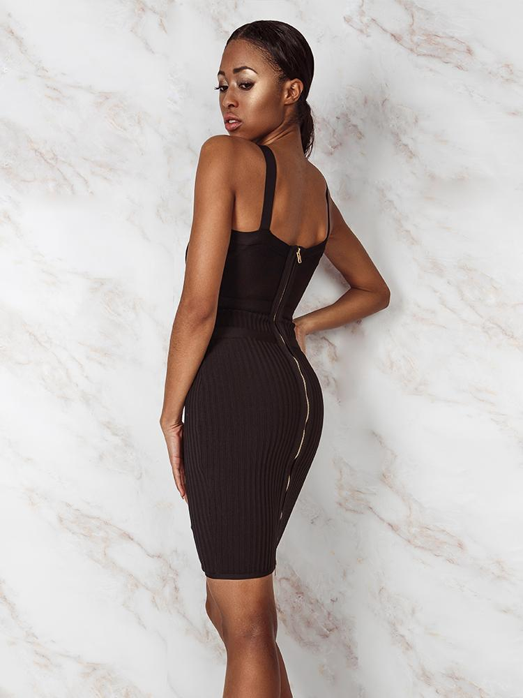 CIARA BLACK GOLD BUCKLES BODYCON BANDAGE DRESS - HOUSE OF MAGUIE