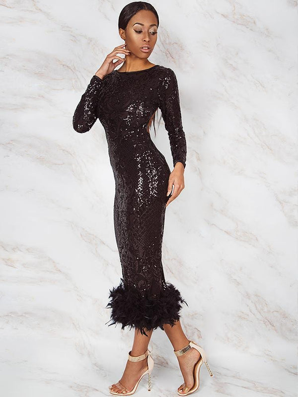CONSTANZA SEASON II BLACK NOIR EMBROIDERY SEQUINS OPEN BACK FEATHER HEM MIDI DRESS LIMITED EDIT - HOUSE OF MAGUIE