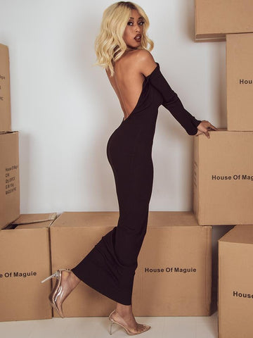 MALAIKA BLACK OPEN BACK LACE UP PREMIUM BANDAGE DRESS