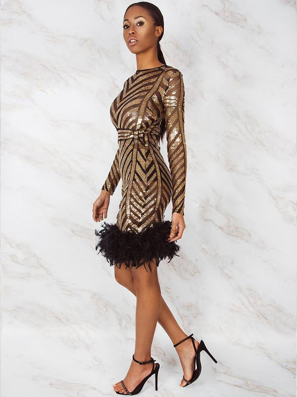 ALICIA BLACK & GOLD SEQUIS OPEN BACK FEATHER HEM COCKTAIL DRESS - HOUSE OF MAGUIE