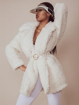 BADDIE COSY WHITE SHERPA OVERSIZED TEDDY COAT - HOUSE OF MAGUIE
