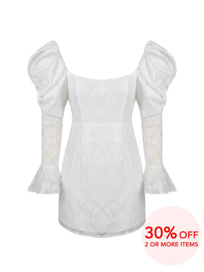 BOO BOO WHITE PUFF SLEEVES MINI DRESS