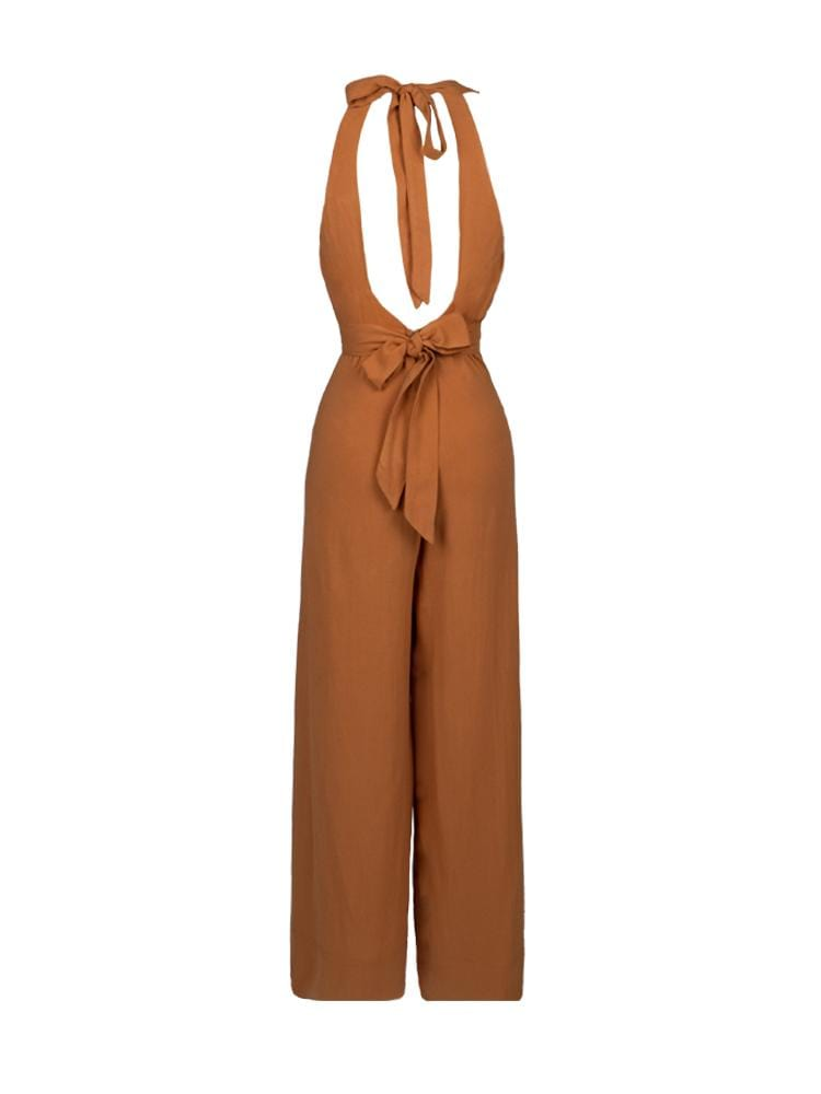 AMINA CARAMEL DEEP V-NECK WIDE LEG JUMPSUIT