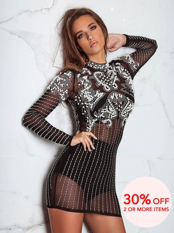 LUXUO BLACK & WHITE PEARLS HEAVY EMBROIDERY MINI DRESS