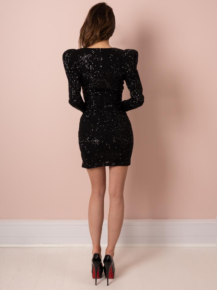 black dress, party dress, sequin, mini dress, celeb boutique, boutique