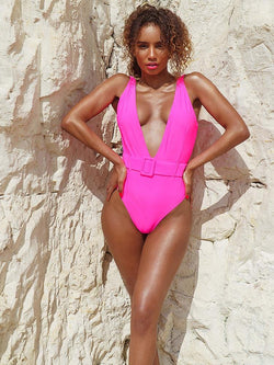 Sexy Swimsuit, Pink Belted Swimsuit