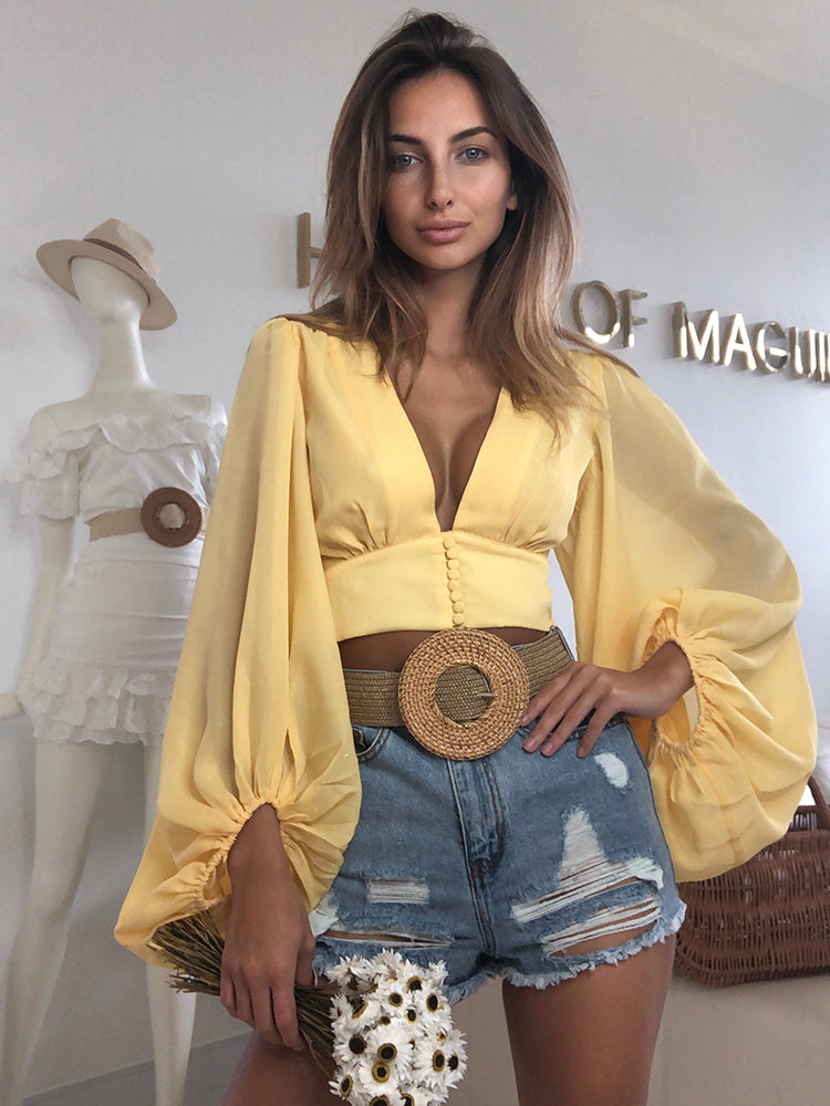 Betina Butter Yellow  Bouffant Sleeves Boho Style Top