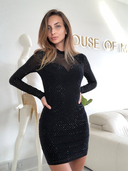 long sleeve dress, long sleeve dress uk, black dress, black dress Zara, black dress asos, black diamond dress, highneck dress, mesh dress, mini dress,