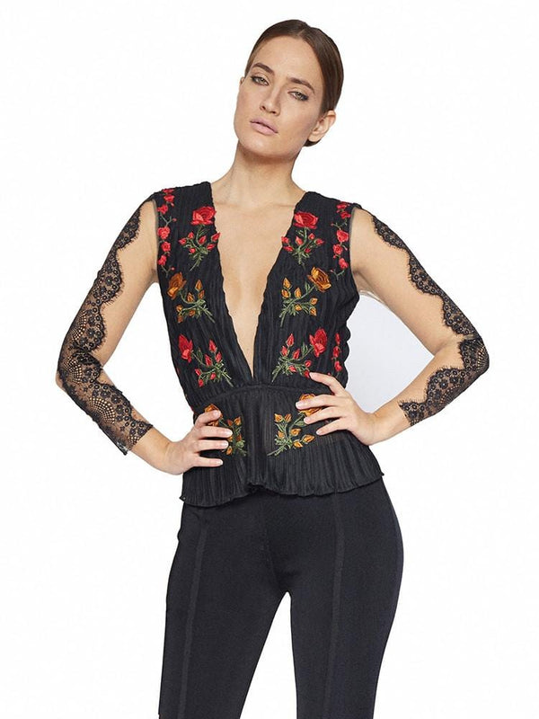 DONATELLA BLACK SHEER MESH  EMBROIDERY DEEP PLUNGE TOP - HOUSE OF MAGUIE