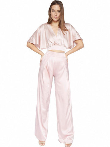 BELIA WHITE HIGH WAIST WIDE LEG CREPE TROUSERS