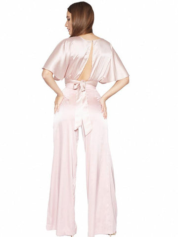 THALIA GOLD SEQUINNED HALTER BELTED JUMPSUIT