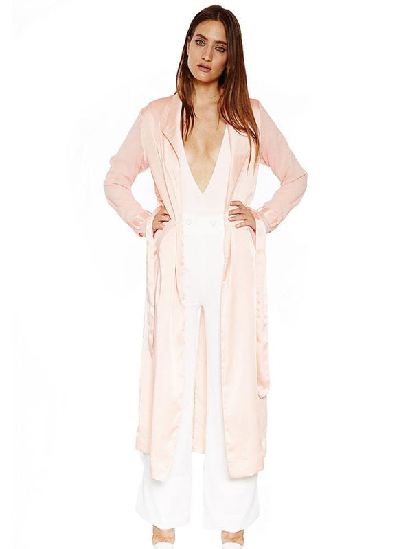 DORIANA PEACH SILK & CHIFFON DUSTER COAT - HOUSE OF MAGUIE