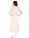 DORIANA PEACH SILK & CHIFFON DUSTER COAT