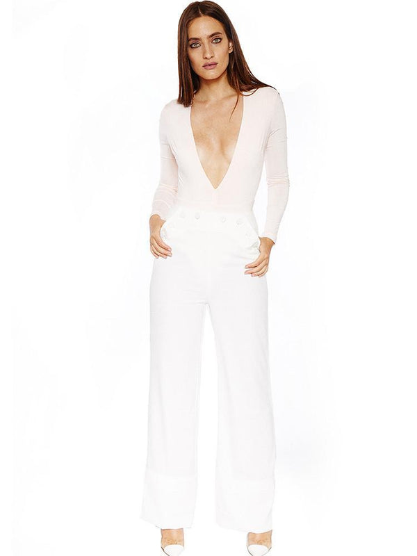 BELIA WHITE HIGH WAIST WIDE LEG CREPE TROUSERS - HOUSE OF MAGUIE