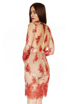 JUSTINA RED SEE THROUGH PLUNGE SHEER LACE DRESS - HOUSE OF MAGUIE