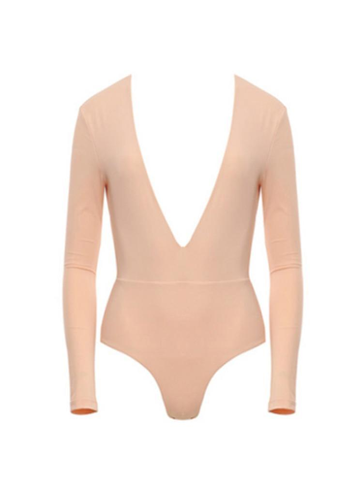 CELINE BLUSH DEEP PLUNGE OH SO SEXY! JERSEY  BODYSUIT - HOUSE OF MAGUIE