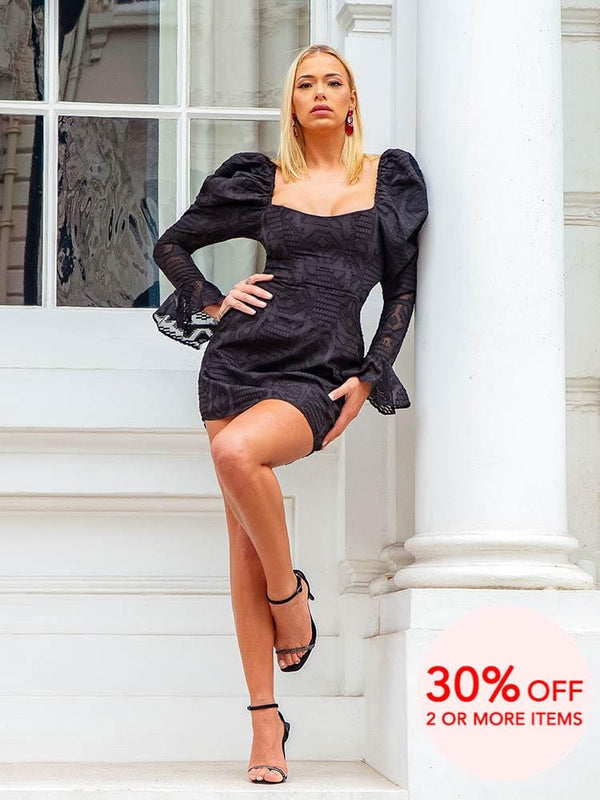 BOO BOO BLACK PUFF SLEEVES MINI DRESS