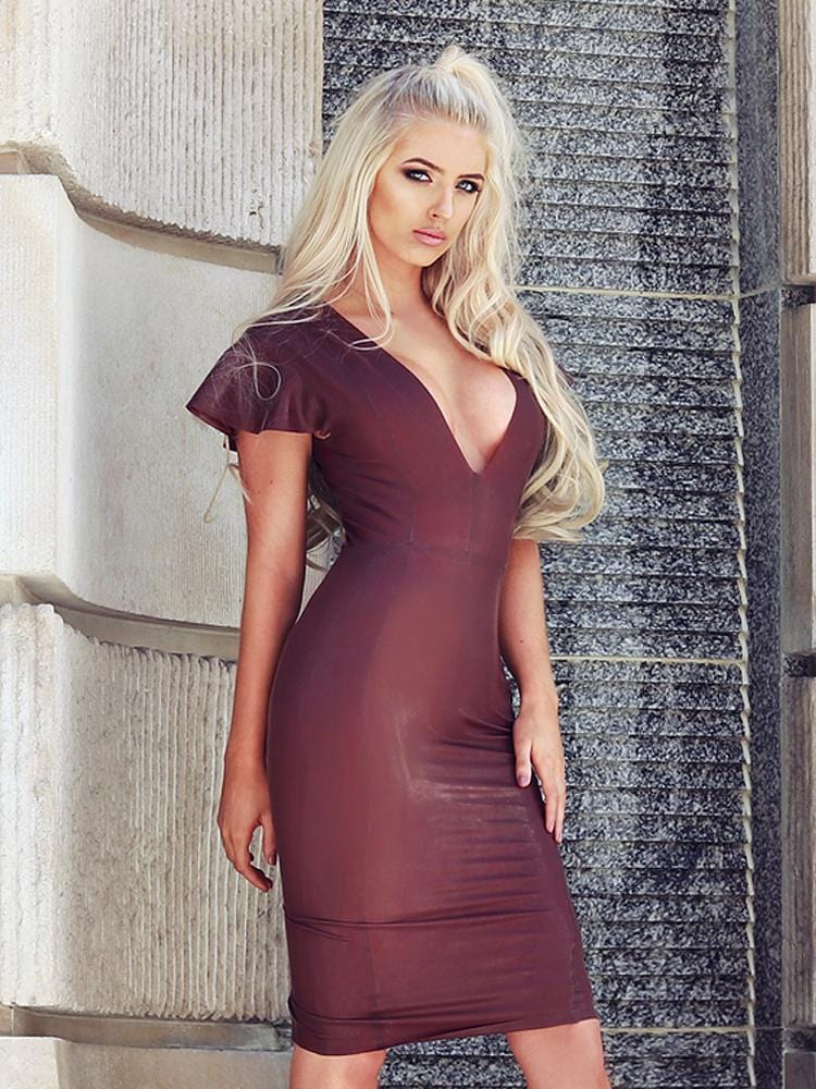 KASSAYA CHOCOLATE BROWN  DEEP 'V' LATEX MIDI DRESS