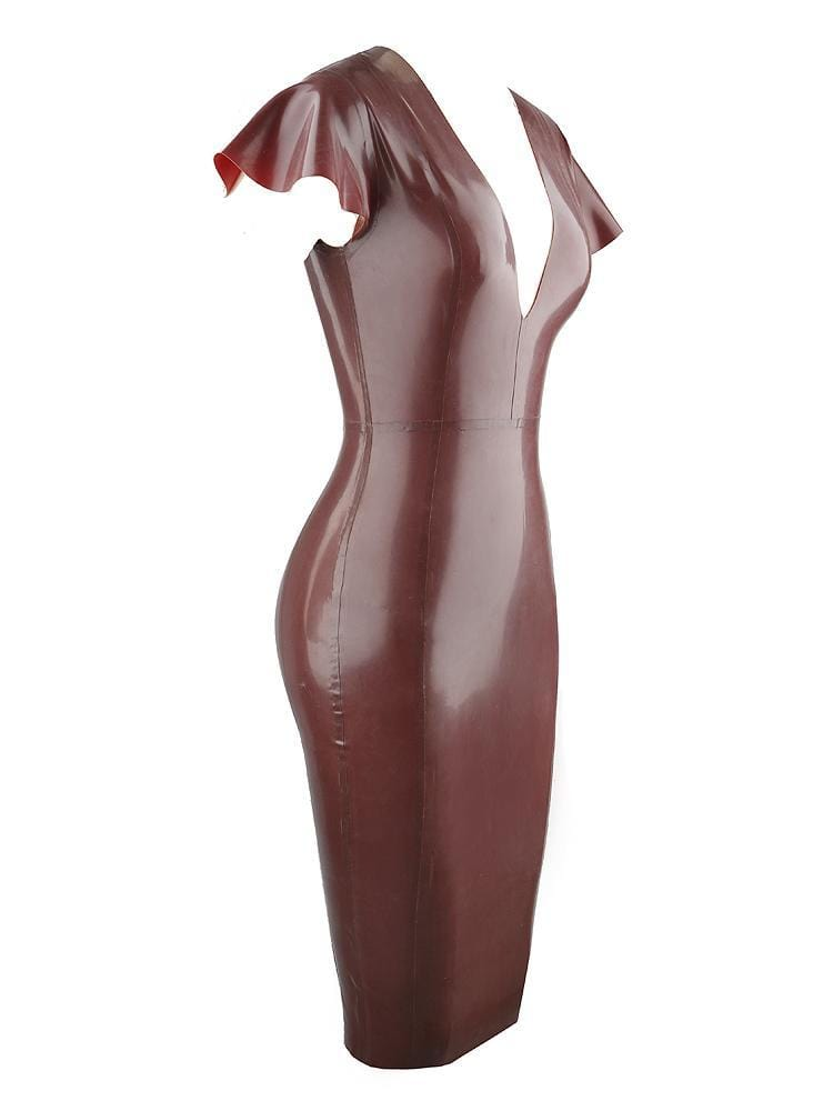 KASSAYA CHOCOLATE BROWN  DEEP 'V' LATEX MIDI DRESS - HOUSE OF MAGUIE