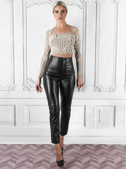 Zara top, Celebrity Clothing UK, Beaded Crop Top, Wedding Guests Outfits, Winter Crop Top, Best Winter Tops UK