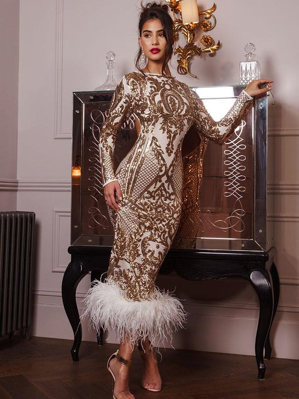 Constanza Season III Gold Sequins Open Back & Ostrich Feathers hem Party Dress
