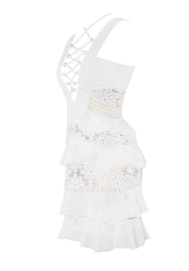 AMORA WHITE RUFFLE SKIRT LACE UP DESIGN CHIFFON & LACE DRESS - HOUSE OF MAGUIE