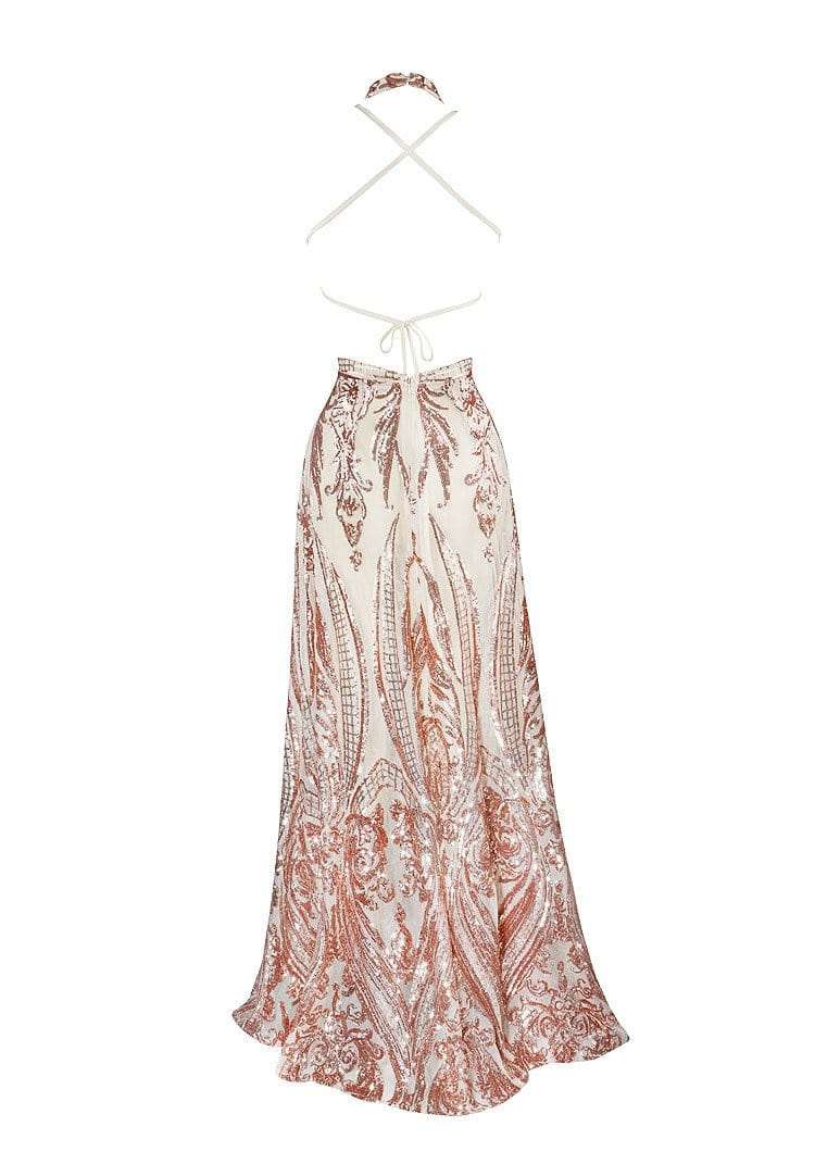VERGARA ROSE GOLD DEEP 'V' PLUNGE CUT OUTS SEQUIN DRESS - HOUSE OF MAGUIE