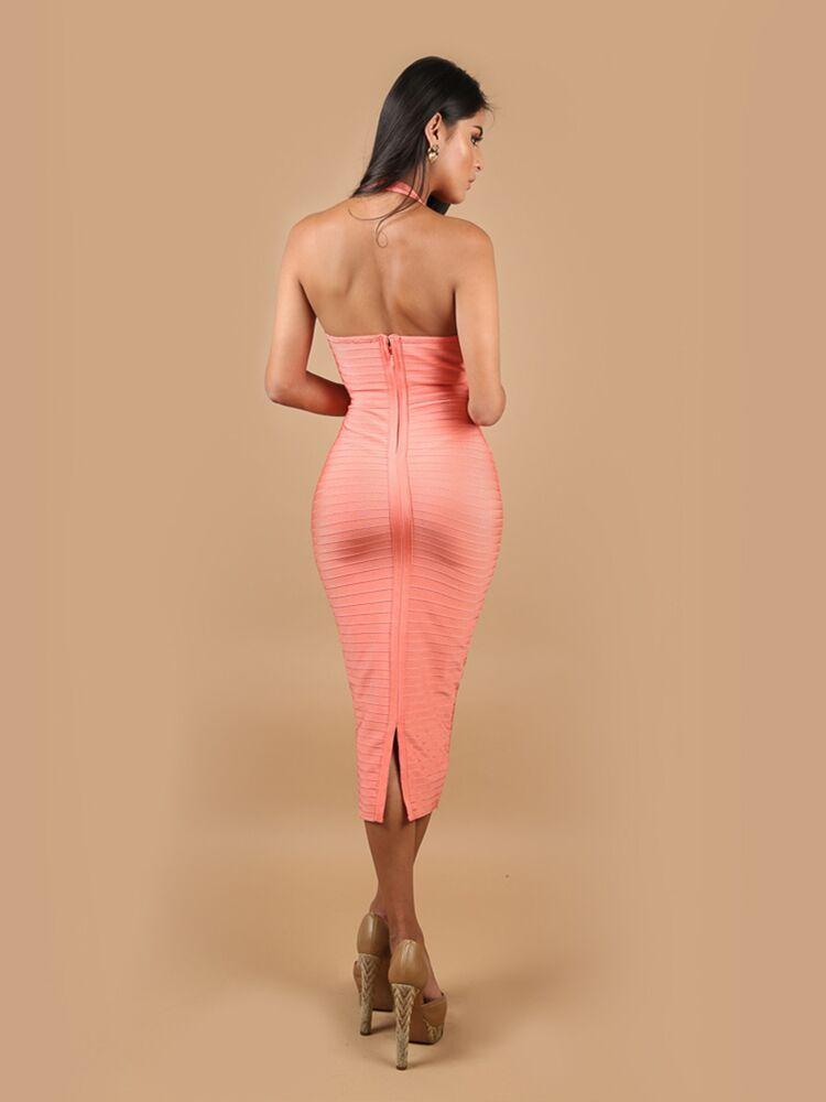 ANALI PEACH HALTER NECK BANDAGE MIDI DRESS - HOUSE OF MAGUIE