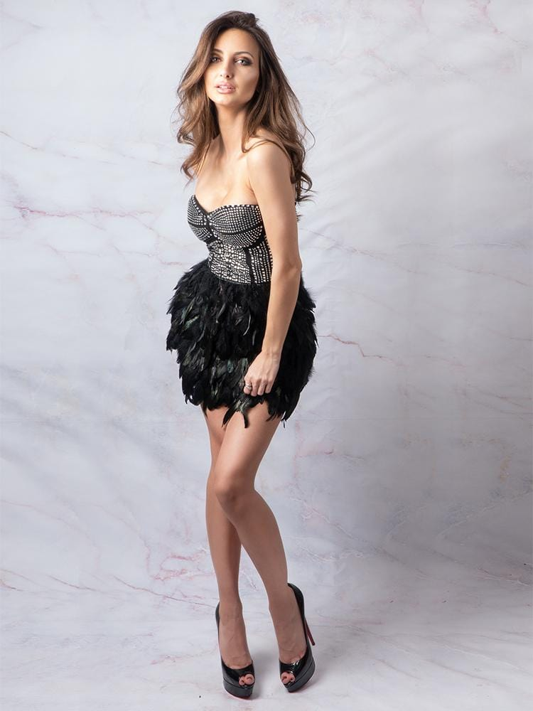 Party Dress, Bustier style feather Dress