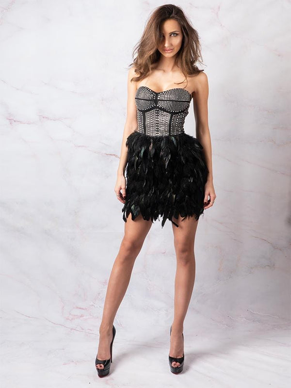 Ostrich Feathers Party Dress Celebrity Boutique London