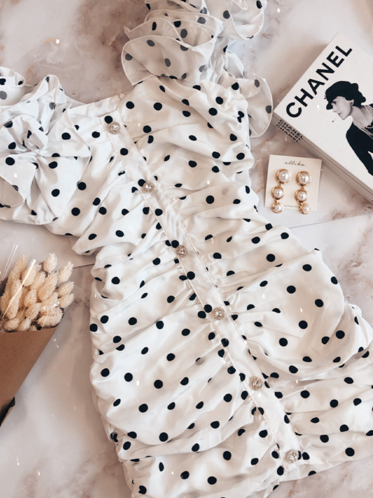 Chanel Dress, Alessandra Rich Dress, Puff Sleeves Polka Dot Dress, Celebrity Boutique Dress, Wedding Guests Dress, Summer Dress, Polka Dot Dress, Cheap Summer Dress, Best Summer Dress