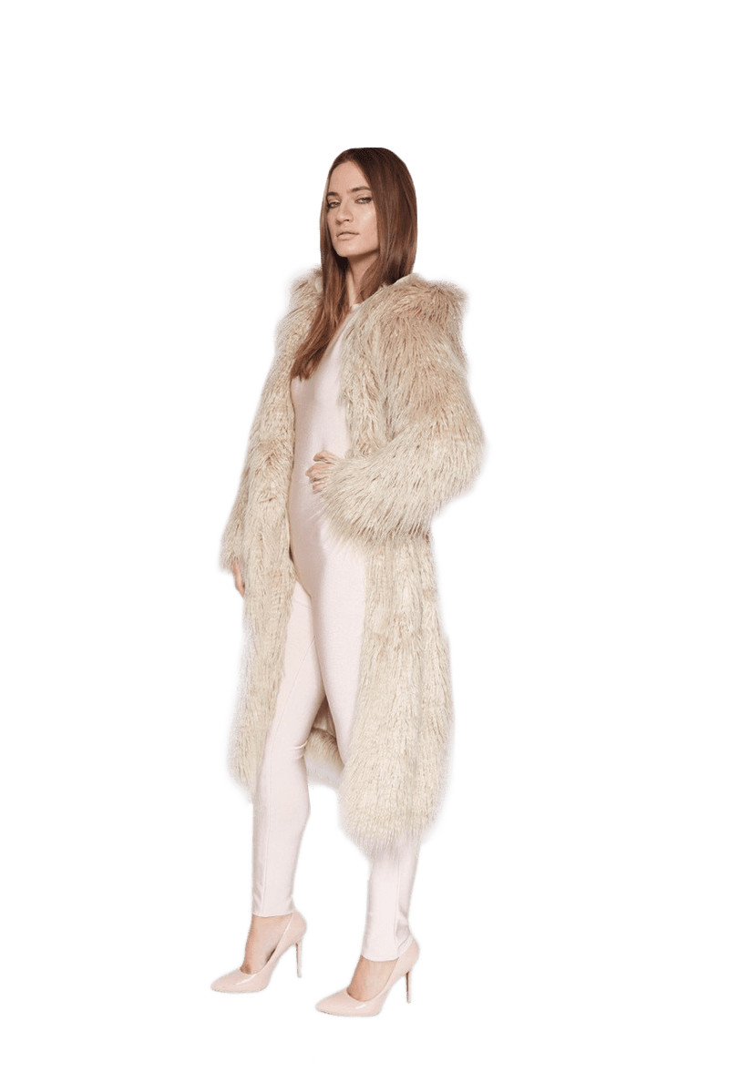 THEKLA MOCCA FAUX FUR HOODED CURLY SHEARLING COAT - HOUSE OF MAGUIE