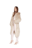 THEKLA MOCCA FAUX FUR HOODED CURLY SHEARLING COAT