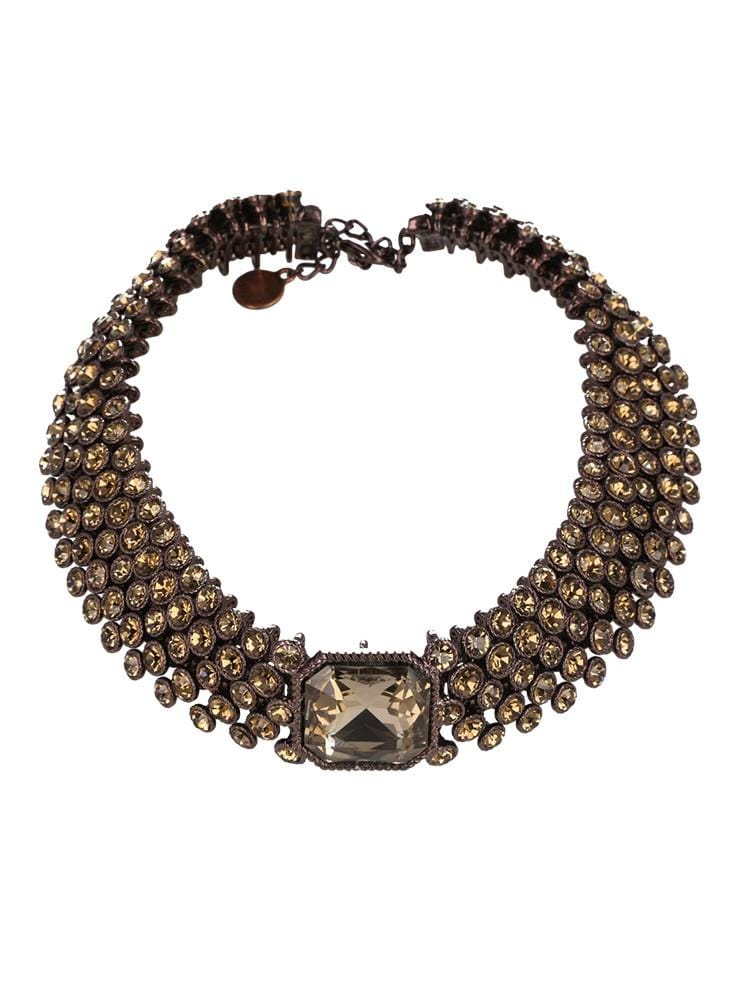 SUKI BROWN DIAMANTE CHOCKER CRYSTAL NECKLACE