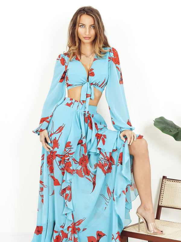 maxi skirt, maxi skirt set, top and skirt set uk, summer maxi skirt uk, blue maxi skirt, matching sets uk, tropical maxi skirt, bouffant sleeve top, front tie top,