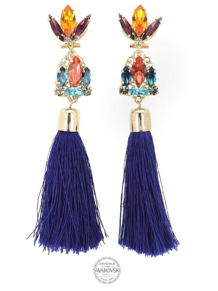 HOUSE OF MAGUIE ACCESSORIES ONE SIZE FITS ALL MARION MULTI-COLOURED / GOLD PLATED EARRINGS WITH SWAROVSKI® CRYSTALS