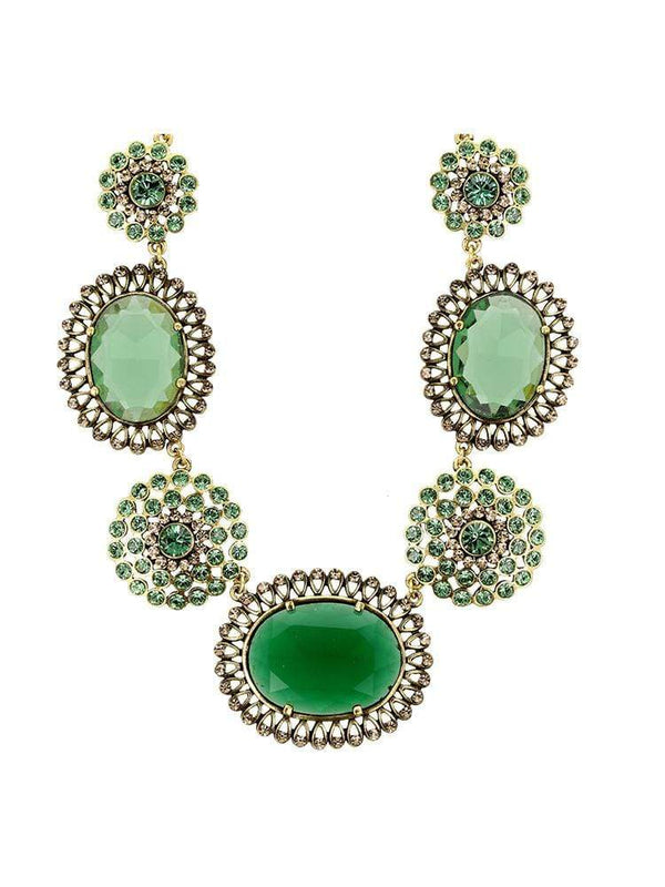 House of Maguie ACCESSORIES ONE SIZE / Green MESMERIZE GREEN JADE CRYSTAL NECKLACE