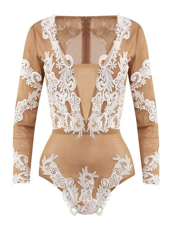 House of Maguie  BODYSUITS ANTOINETTE TAN & WHITE EMBROIDERY V COLLAR MESH BODYSUIT