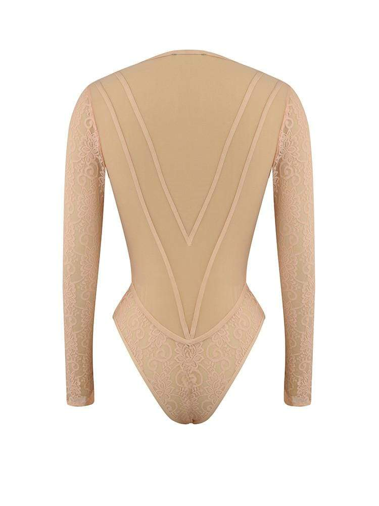 House of Maguie BODYSUITS MALAKAPOUR BLUSH DEEP PLUNGE MESH BODYSUIT