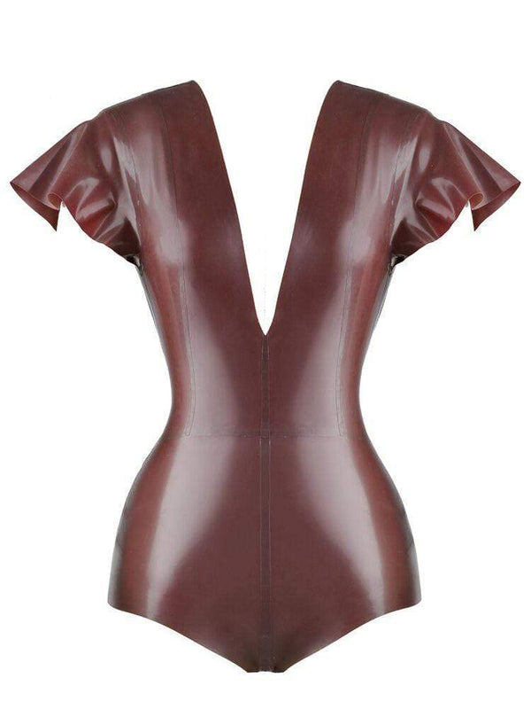 HOUSE OF MAGUIE BODYSUITS SANTA CHOCOLATE DEEP 'V' BUTTERFLY SLEEVES LATEX BODYSUIT
