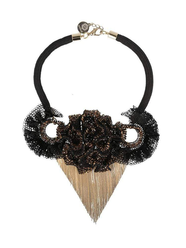 HOUSE OF MAGUIE COLLARS NAMUR BLACK FLORE FRINGED MAXI COLLAR