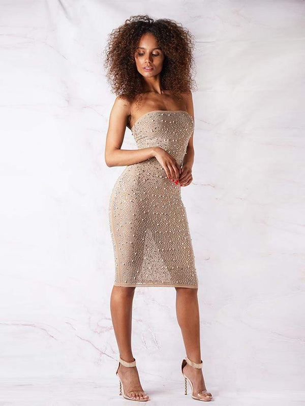 House of Maguie Dresses ALEXIA NUDE BANDEAU PREMIUM BEADED COCKTAIL DRESS