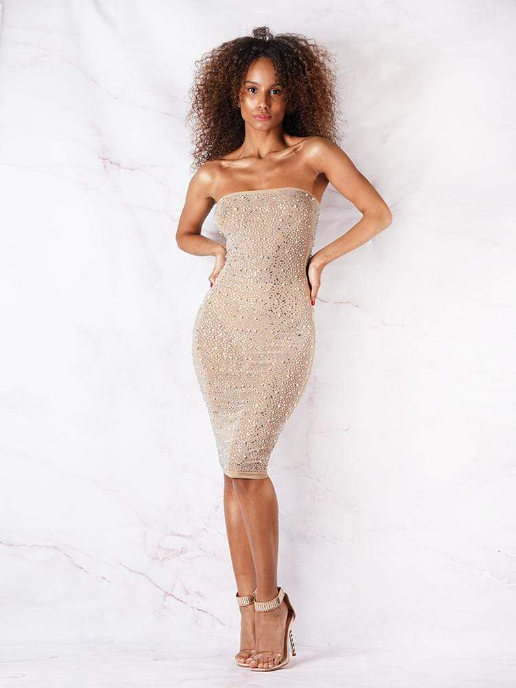 Party Dress London, Club Dress London, Cocktail Dress London, Women's Luxe Dress London, Strapless Dress, Embellished Bodycon Dress, Wedding Dress London